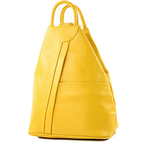 modamoda de - T180 - ital Damen Rucksack Tasche Nappaleder, Farbe:Sonnengelb
