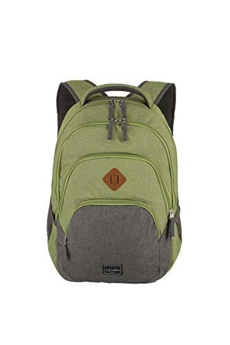 Gepäck Serie BASICS Daypack Melange: Modischer travelite Rucksack in Melange Optik, Handgepäck Rucksack mit Laptop Fach 15,6 Zoll, 096308-80, 45 cm, 22 Liter, grün/grau