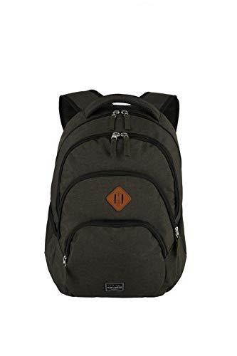 travelite Rucksack Handgepäck mit Laptop Fach 15,6 Zoll, Gepäck Serie BASICS Daypack Melange: Modischer Rucksack in Melange Optik, 096308-60, 45 cm, 22 Liter, Schwarz(Braun)