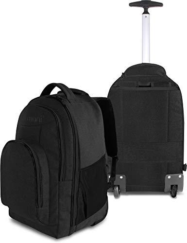 normani Rucksack mit Trolleyfunktion - 30 Liter Volumen Rucksacktrolley zum ziehen mit Laptopfach für Schule, Uni, Reisen, Ausflüge oder Einkaufen Farbe Schwarz