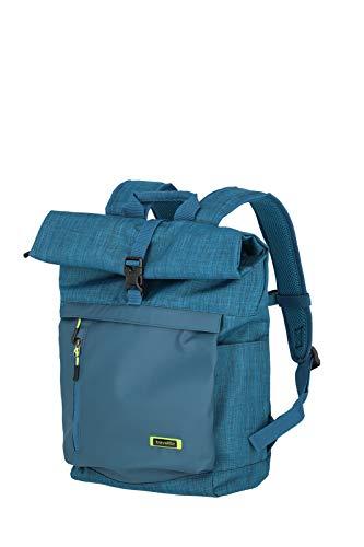 travelite 60 cm Rollup Rucksack mit Laptop Fach bis 15,6 Zoll, Gepäck Serie PROOF: Weichgepäck Rucksack in frischen Kontrastfarben, 092310-22, 35 Liter, 0,8 kg, petrol (türkis)