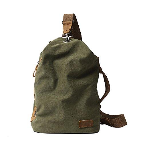 Neuleben Vintage Sling Rucksack Schulterrucksack Canvas Daypack Brusttasche Retro Schultertasche Klein Damen Herren für Reise Outdoor Sport Freizeit (Grün)