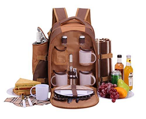 apollo walker Picknickrucksack für 4 Personen mit Fleece-Decke und Kühlfach (Braun)