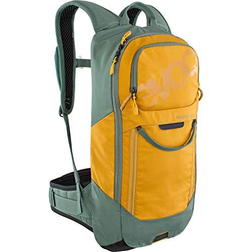 EVOC FR LITE RACE 10 Protektor-Rucksack ideal für Enduro-Rennen (Größe: M/L, sehr leicht, LITESHIELD BACK Rückenprotektor, LITESHIELD SYSTEM AIR, Werkzeugfach mit Schnellzugriff), Olive / Lehm