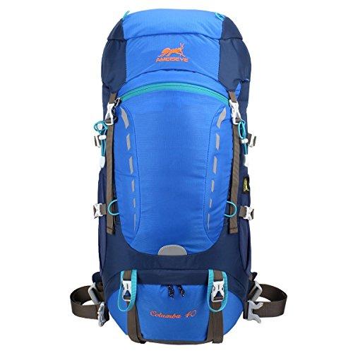 Eshow Unisex Trekkingrucksäcke Wanderrucksäcke Reisenrucksack Camping Outdoor Reisen Sport Wandern Trekking Rucksäcke 40L mit Regenhülle, Blau