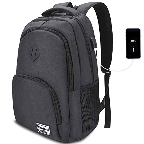 YAMTION Rucksack Laptop 17.3 Zoll Schulrucksack Herren mit USB-Ladeanschluss für Arbeit Schule Reisen Camping