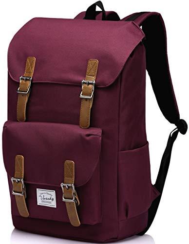 Rucksack Damen, VASCHY Wasserabweisend Schulrucksäcke Mädchen Teenager Vintage 15.6 Zoll Laptop Rucksack Casual Daypack für Reisen Arbeit Täglicher Gebrauch (Burgund)