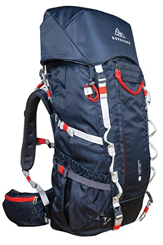 NORDKAMM – Backpacker Rucksack, Trekking-Rucksack, 50l - 60l, blau, Damen u. Herren, Reiserucksack, Top- u. Frontlader, für Weltreise, Camping, Outdoor, Backpacking, verstellbar