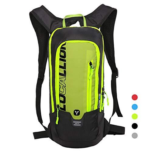 LOCAL LION Fahrradrucksack Skirucksack klein für Damen & Herren 6L Ultraleicht wasserdicht mit Trinksystem für Trinkblase bis 2L - Ideale zum Skifahren | Radsport | Camping grün OHNE TRINKBLASE