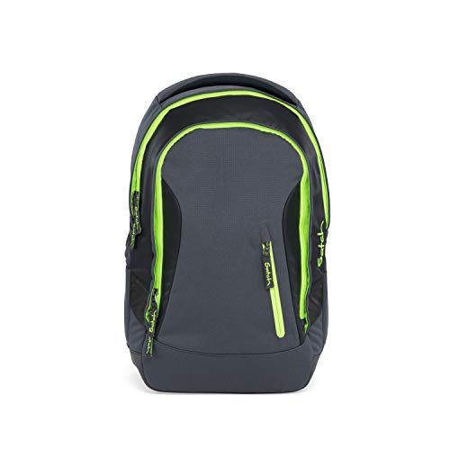 satch Sleek Phantom, ergonomischer Schulrucksack, 24 Liter, extra schlank, Grau/Grün