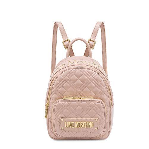 Love Moschino Rucksack aus Nappaleder Kunstleder gesteppt Farbe Rosa mit Tasche JC4009PP