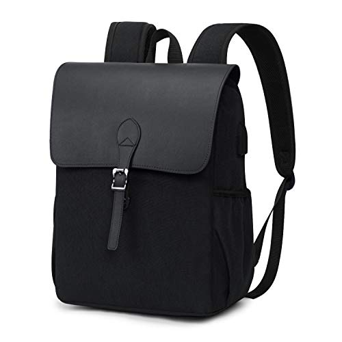 Wind Took Retro Damen Rucksack Daypack Laptop Notebook Backpack 15 Zoll mit USB Kabel für Uni Casual Alltag Freizeit, 27x14x38cm, Schwarz
