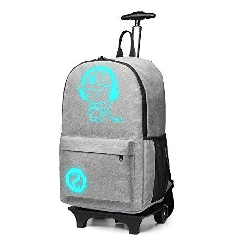 Kono Handgepäck Rucksack Tasche mit Rollen Business Trolley Reisetasche für Laptop Polyester (Grau)