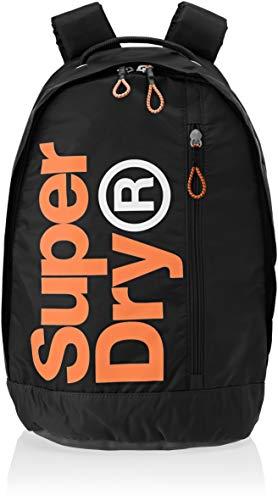 Superdry Herren Academy Freshman Rucksack, Schwarz (Black/Hazard Orange), 33x43x10 centimeters
