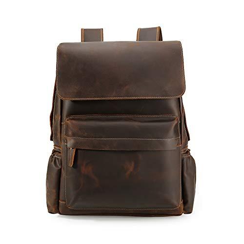 Vints Herren Jahrgang Echtes Leder Rucksack Handgefertigte Für 15,6-Zoll-Laptop Weekender Tote Daypacks mit großer Kapazität Rucksäcke mit Mehreren Taschen Reisesporttasche