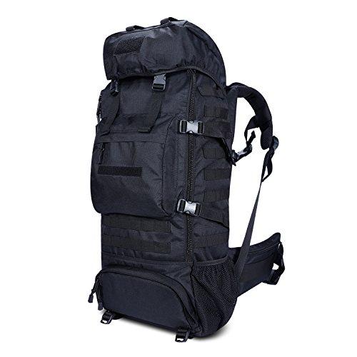 Gonex Trekkingrucksack 70L, Militär Rucksack 900D Oxford mit Innengestell und Regenschutz