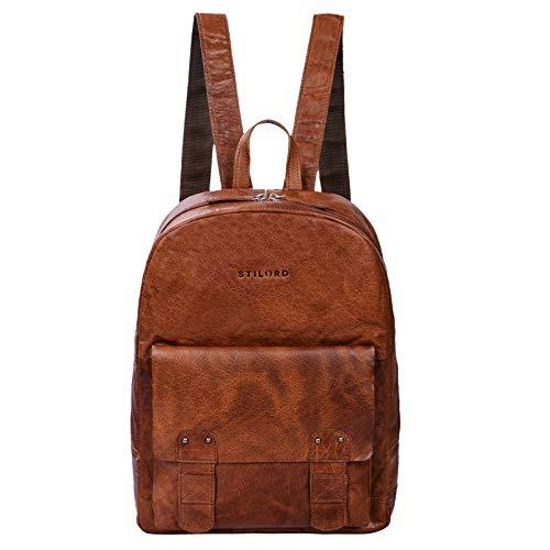 STILORD 'Nalos' Rucksack Leder braun Vintage großer Damen Herren Daypack für Uni Schule Freizeit mit 13.3 Zoll Laptopfach für breite DIN A4 Ordner echtes Leder, Farbe:Brandy - braun