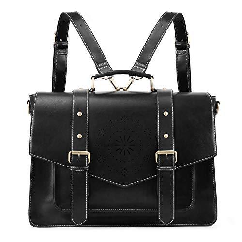 ECOSUSI Umhängetasche Damen Vintage Laptoptasche 15,6 Zoll Schultertaschen Arbeitstasche Handtasche Schwarz