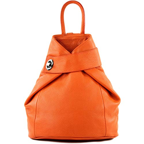 modamoda de - T179 - ital: Damen Rucksack Tasche aus Leder, Farbe:Orange