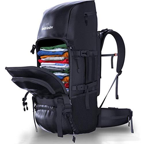 Prärieulv Backpacker Rucksack Set – 70L Trekkingrucksack Wanderrucksack Frontlader mit Innengestell, wasserabweisend inkl. Regenhülle + Kleiner Faltbarer Rucksack 20L, schwarz