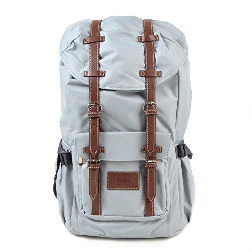 Großer Laptop-Rucksack für 17 Zoll, Damen und Herren, 22L Vintage Backpack - Montreal - lässiger Unisex Retro Tagesrucksack, Hellgrau/rote Streifen