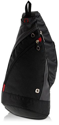 WENGER Premium Slingbag für Damen und Herren, 10 L, Rucksack Schultertasche in Schwarz / Grau mit grauem Innenfutter