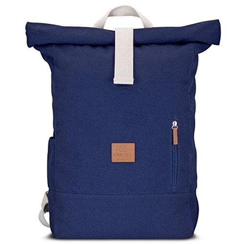 Rolltop Rucksack Damen & Herren Blau - JOHNNY URBAN Roll Top Backpack aus Baumwoll Canvas - Lässige Rucksäcke für Alltag, Uni, Reisen & Schule - Wasserabweisend & sehr flexibel