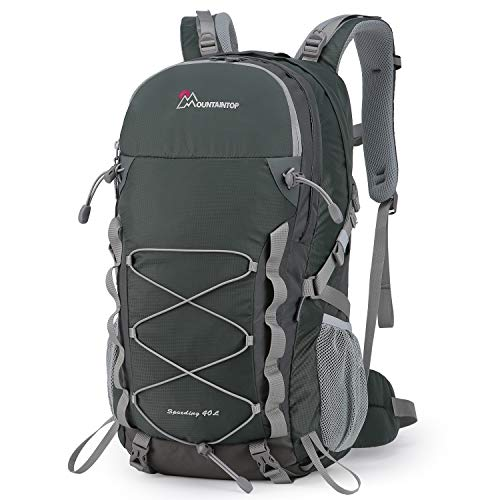 MOUNTAINTOP Erwachsene 40L Rucksäcke Herren Damen Backpack Wanderrucksack Trekkingrucksack Outdoorrucksack für Klettern Camping (Dunkelgrau)