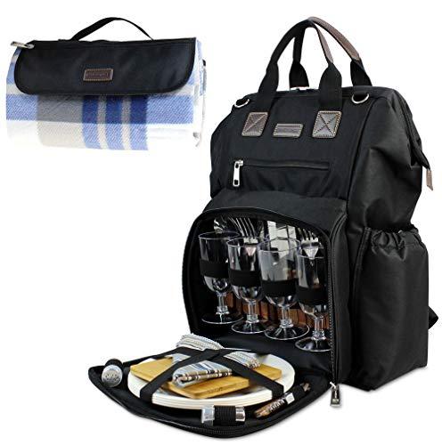 INNO STAGE Großer Picknick-Rucksack für 4 Personen mit Kühlfach, schwarz (Schwarz) - PB17-042 Black-EU