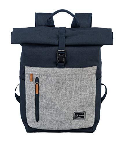 Gepäck Serie BASICS Daypack Rollup: Praktischer travelite Rucksack mit Rollup Funktion, Handgepäck Rucksack mit Laptop Fach 15,6 Zoll, 096310-20, 60 cm, 35 Liter, Marine/Grau