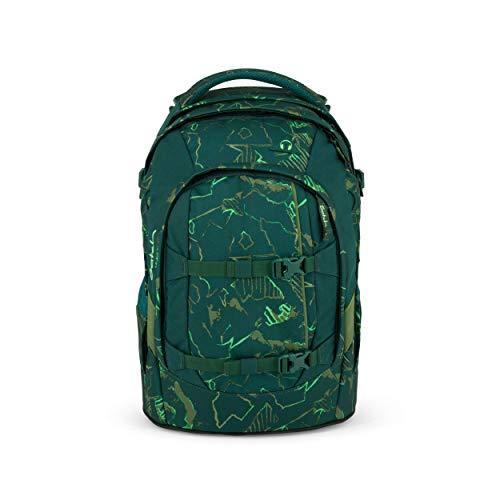satch Pack Green Compass, ergonomischer Schulrucksack, 30 Liter, Organisationstalent, Grün/Neon
