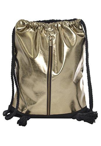 Sublevel Metallic Turnbeutel mit Zipper | Gym Bag | Leichter Daypack mit Kordeln gold one size