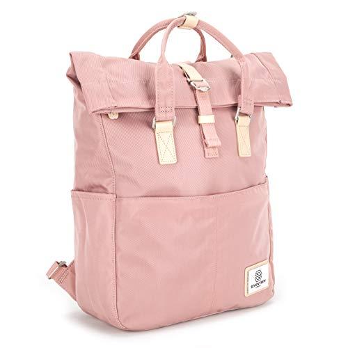 SEVENTEEN LONDON – Moderner und stilvoller 'Soho' Rucksack in rosa mit einem klassischen gefalteten Roll Top Design – perfekt für 13-Zoll-Laptops