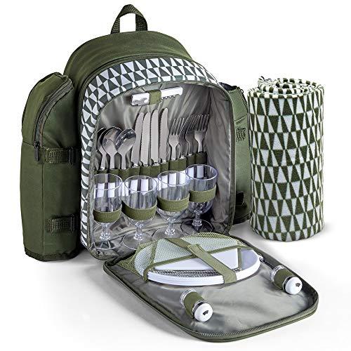 VonShef Geo-Picknick-Rucksack für 4 Personen - Grün - Wasserdicht & Isoliert - Picknick/Outdoor/Essen im Freien Set für 4 mit Zubehör