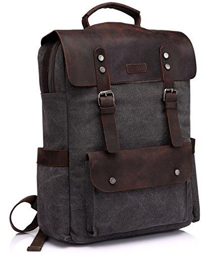 Vintage Rucksack Herren, VASCHY Leinwand Leder 15 Zoll Laptop Rucksack Business Schulrucksack für Hochschule Studenten Dunkel Grau