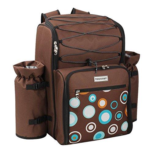 anndora Picknickrucksack 4 Personen mit integrierter Kühltasche braun Blaue Kreise inkl. 29-teiliges Zubehör