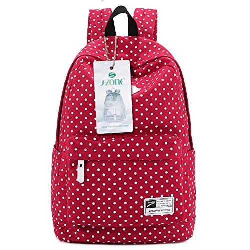 S-ZONE MädchenTeenager Haltbare Leichte Segeltuch Schultasche 14-15 Inch Laptoptasche Wanderrucksack für Schhule Freizeit Ourdoor