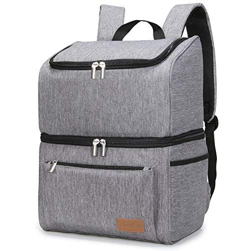 Lifewit Kühlrucksack Thermo Rucksack Kühltasche Isolierte Cooler Bag Weich Doppeldecker für Picknick/BBQs/Camping/Ausflügen/Einkaufen, Grau