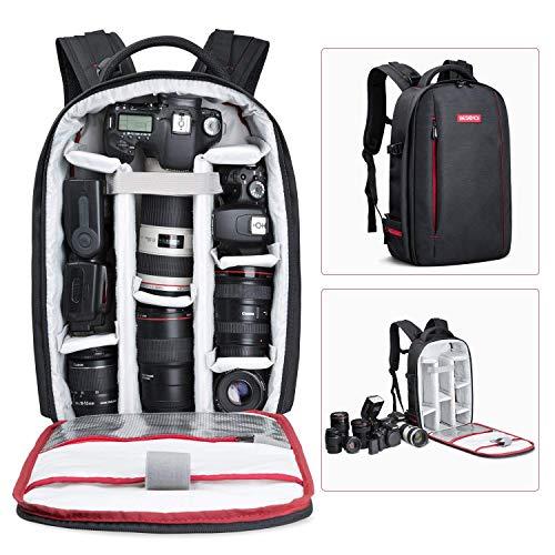 Beschoi DSLR Kamera-Rucksack, wasserdichte Kameratasche für Sony Canon Nikon Olympus SLR/DSLR Kamera, Objektiv und Zubehör, groß (schwarz).