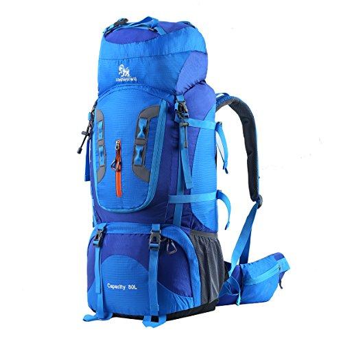 HWJIANFENG Trekkingrucksack Wanderrucksack - Große Kapazität 80L - Ultraleicht, strapzierfähig - Perfekt für Camping/Wandern/Bergsteigen/Reisen, Blau