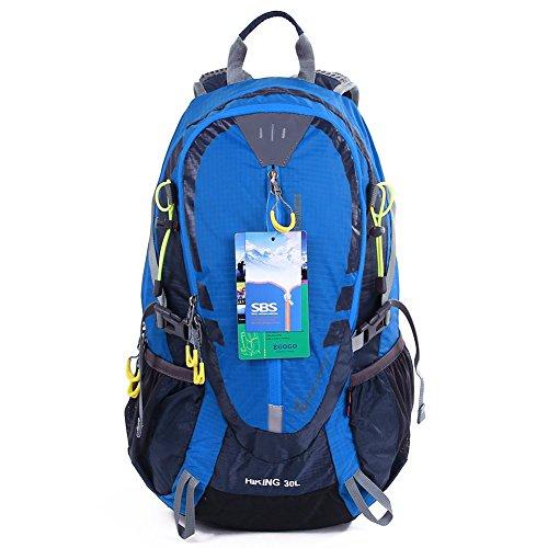 EGOGO 30L Wasserdicht Wanderrucksack Camping Rucksack mit Regenschutz Laufen Radfahren im Freien S2310 (Blau)