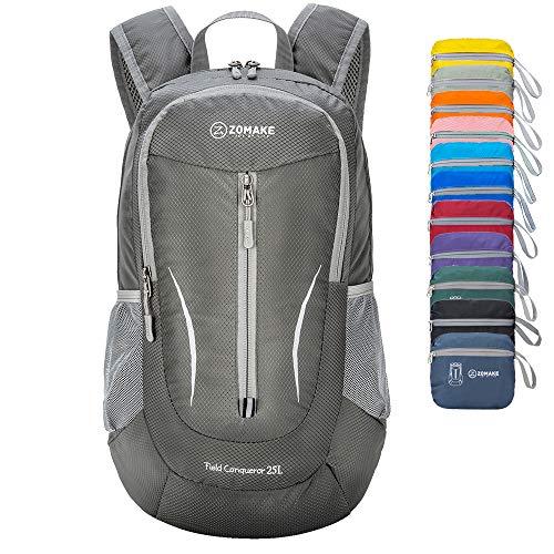 ZOMAKE Ultra Lightweight Packable Rucksack, 25L Klein Wasserfest Wandern Daypack Faltbarer Reiserucksack für Männer Frauen im Freien (Dunkelgrau)