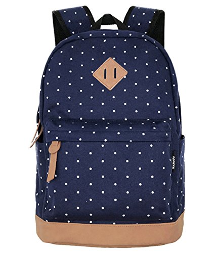 SAMGOO Unisex Leinwand Einfache Rucksäcke Daypack mit Laptopfach Freizeitrucksack Schulrucksack (Navy blau Tupfen)
