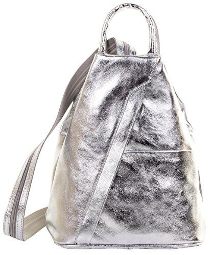 Primo Sacchi ® Italienisch Leder Metallic Silver Top Griff Schultertasche Rucksack Rucksack. Inklusive Markenschutz-Aufbewahrungstasche