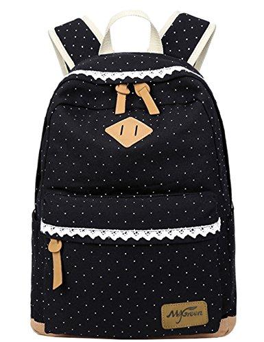 Mädchen Schulrucksack, Fashion Damen Canvas Rucksack Polka Punkt süße Spitze Kinderrucksack Outdoor Freizeit Daypacks Schultaschen für Teenager 41x32x14cm/16.5x13x5.5 Zoll (schwarz)