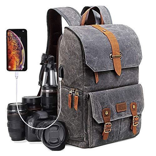 UBaymax Kamerarucksack Kameratasche, Wasserdicht Canvas Leinenstoff und Echt-Leder DSLR Rucksack, 15,6 Zoll Laptop Rucksack, Fotorucksack für Kamera Zubehör und Outdoor Sport Reise, Grau