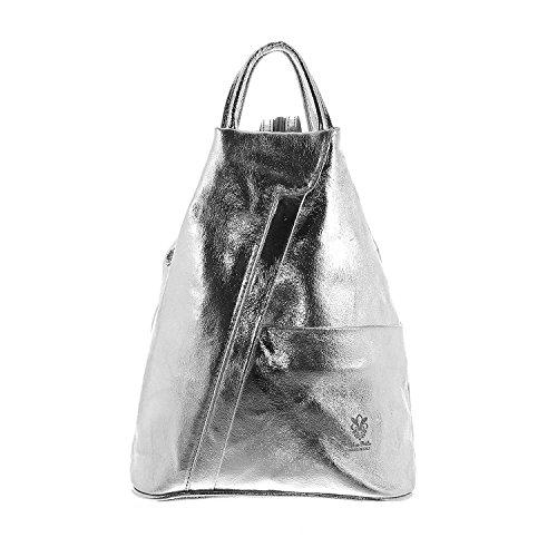 IO.IO.MIO leichter echt Leder Damenrucksack CityRucksack DayPack freie Farbwahl, 27-18x30x13 cm (B x H x T), Silber, Einheitsgröße