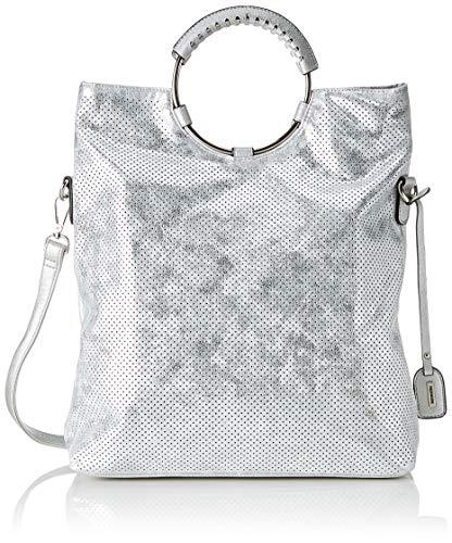 Remonte Damen Q0392 Umhängetasche, Silber (White-Silver), 40 x 33 x 12 cm (B x H x T)