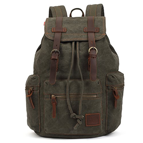 Vintage Rucksäcke 15 Zoll, KAUKKO Damen Herren Schulrucksack Daypack Retro Stylisch Backpack für Outdoor Wanderreise Camping mit Großer Kapazität 27×16×41 cm (Army Grün02)