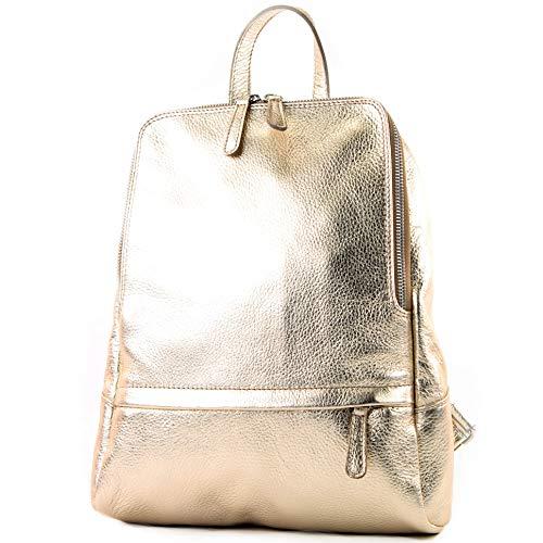modamoda de - T138 - ital Damen Rucksacktasche aus Leder, Farbe:Gold